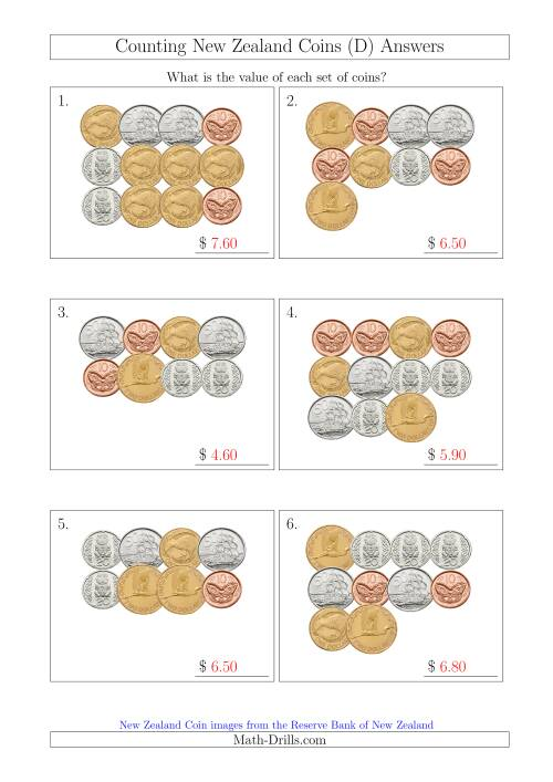 The Counting New Zealand Coins (D) Math Worksheet Page 2