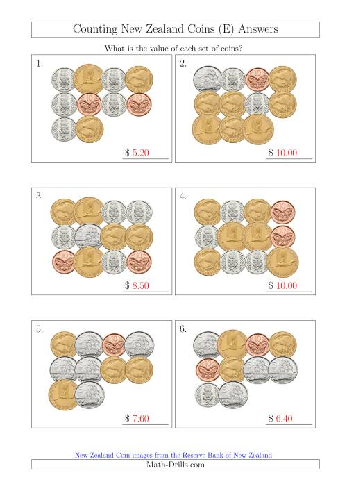 The Counting New Zealand Coins (E) Math Worksheet Page 2