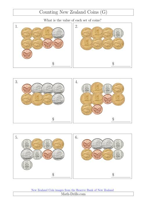 The Counting New Zealand Coins (G) Math Worksheet