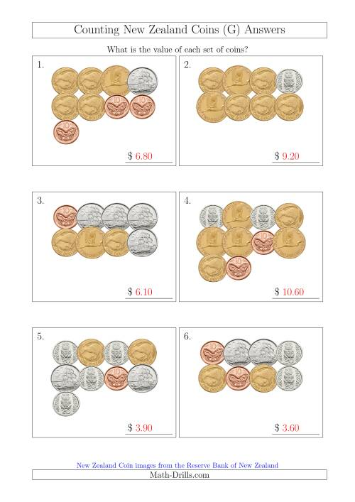 The Counting New Zealand Coins (G) Math Worksheet Page 2