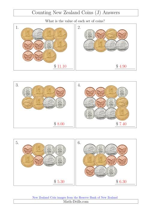 The Counting New Zealand Coins (J) Math Worksheet Page 2