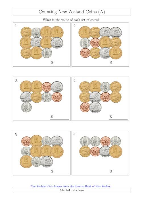 The Counting New Zealand Coins (All) Math Worksheet