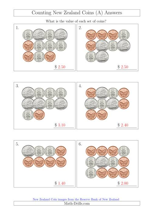 The Counting New Zealand Coins (No Dollars) (A) Math Worksheet Page 2