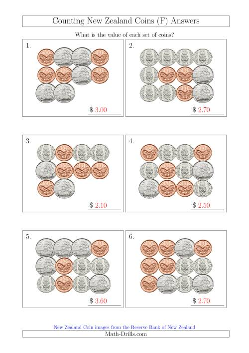 The Counting New Zealand Coins (No Dollars) (F) Math Worksheet Page 2