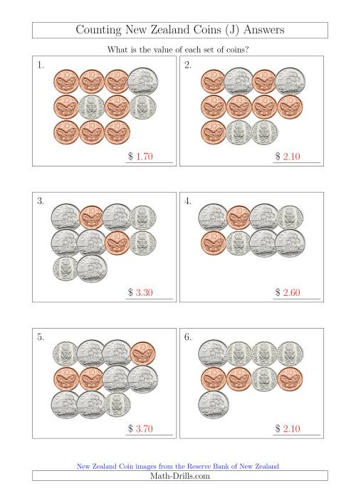 The Counting New Zealand Coins (No Dollars) (J) Math Worksheet Page 2