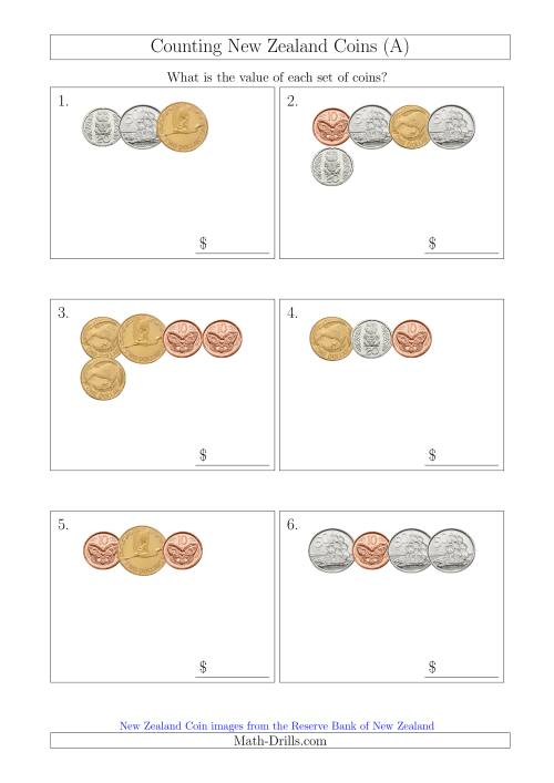 The Counting Small Collections of New Zealand Coins (A) Math Worksheet