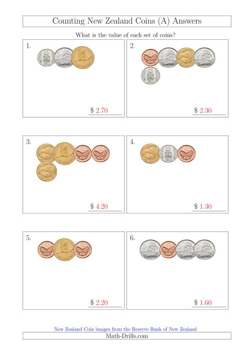 The Counting Small Collections of New Zealand Coins (A) Math Worksheet Page 2
