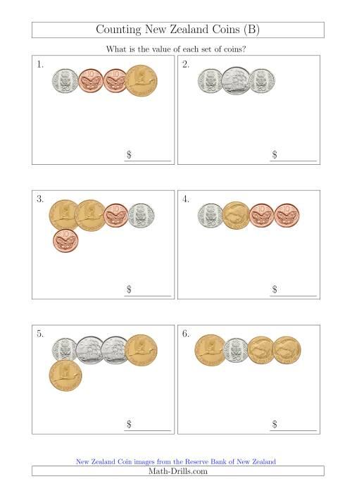 The Counting Small Collections of New Zealand Coins (B) Math Worksheet