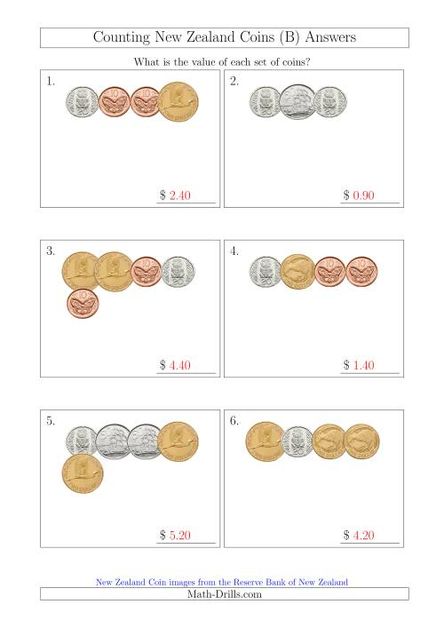 The Counting Small Collections of New Zealand Coins (B) Math Worksheet Page 2