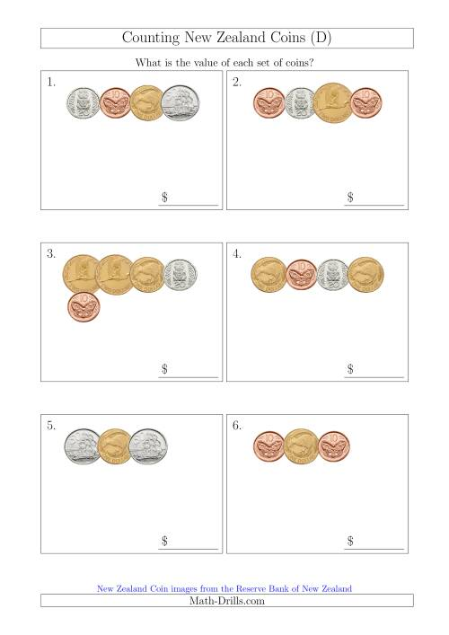 The Counting Small Collections of New Zealand Coins (D) Math Worksheet