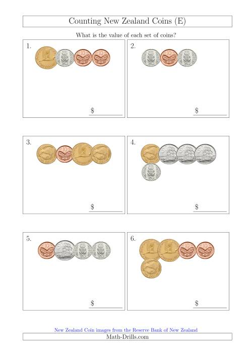 The Counting Small Collections of New Zealand Coins (E) Math Worksheet