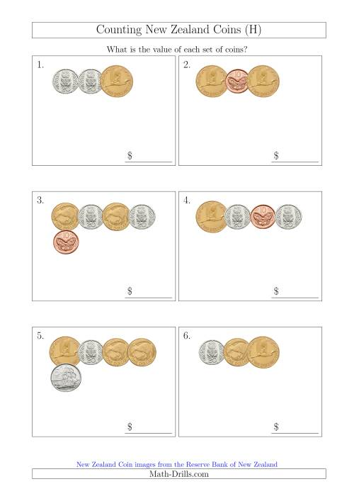The Counting Small Collections of New Zealand Coins (H) Math Worksheet