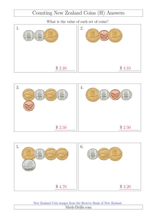 The Counting Small Collections of New Zealand Coins (H) Math Worksheet Page 2
