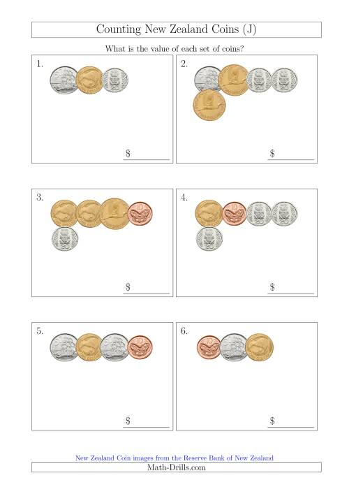 The Counting Small Collections of New Zealand Coins (J) Math Worksheet