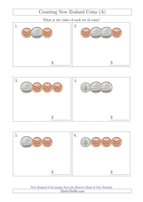 The Counting Small Collections of New Zealand Coins (No Dollars) (A) Math Worksheet
