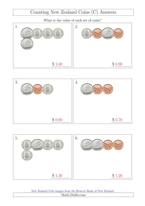 The Counting Small Collections of New Zealand Coins (No Dollars) (C) Math Worksheet Page 2