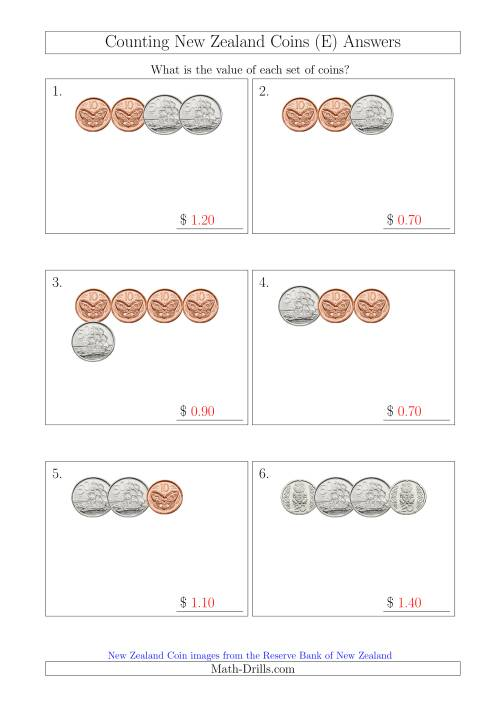 The Counting Small Collections of New Zealand Coins (No Dollars) (E) Math Worksheet Page 2