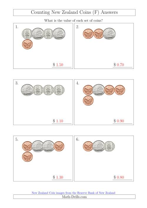 The Counting Small Collections of New Zealand Coins (No Dollars) (F) Math Worksheet Page 2