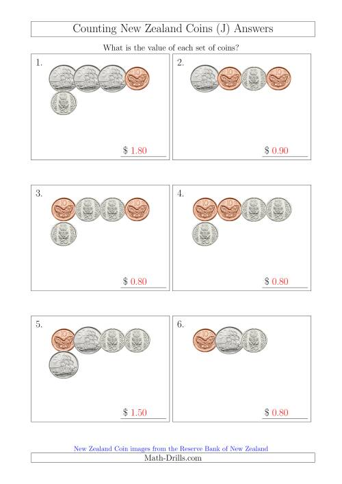 The Counting Small Collections of New Zealand Coins (No Dollars) (J) Math Worksheet Page 2