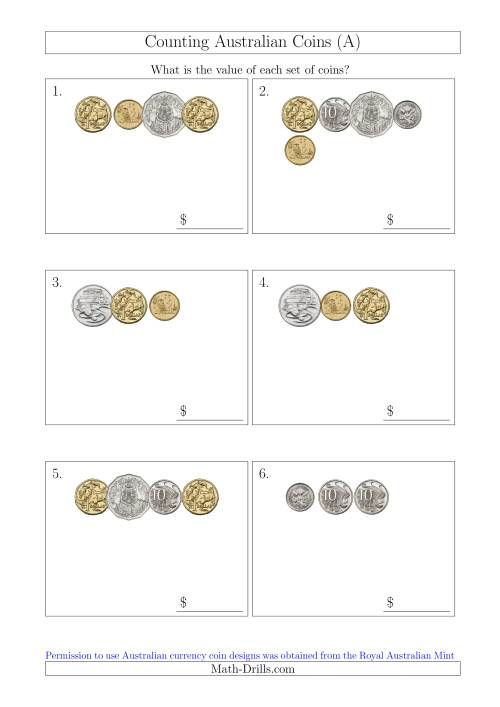 The Counting Small Collections of Australian Coins (A) Math Worksheet