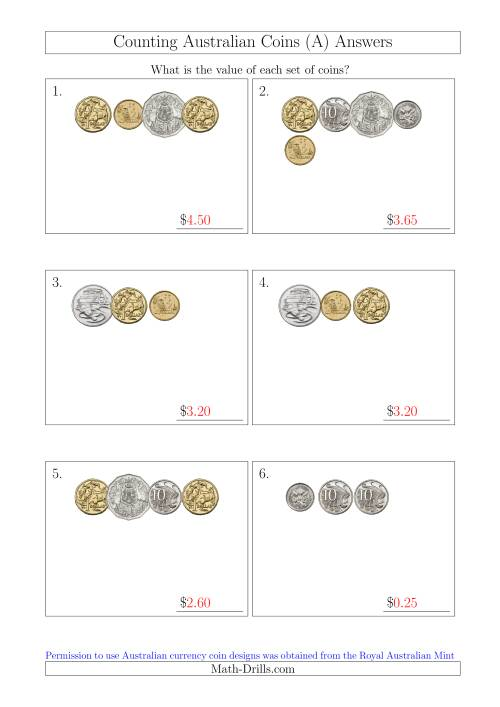 The Counting Small Collections of Australian Coins (A) Math Worksheet Page 2