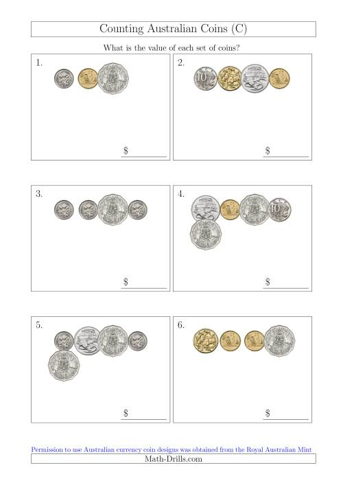 The Counting Small Collections of Australian Coins (C) Math Worksheet