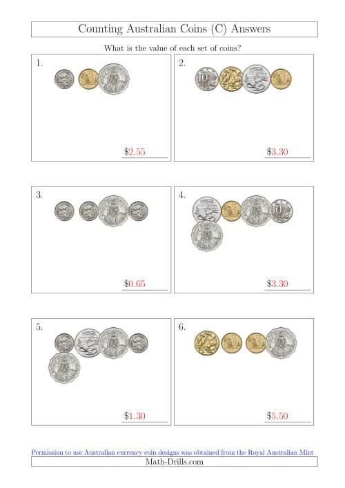 The Counting Small Collections of Australian Coins (C) Math Worksheet Page 2