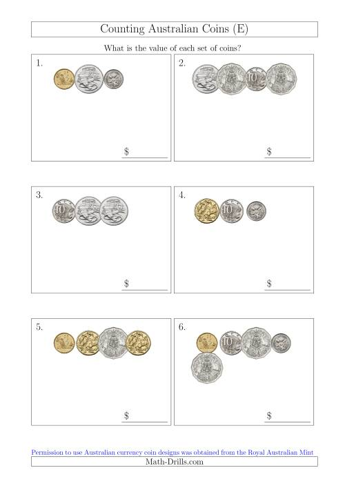 The Counting Small Collections of Australian Coins (E) Math Worksheet