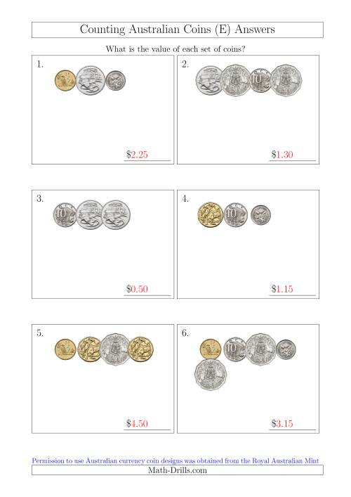 The Counting Small Collections of Australian Coins (E) Math Worksheet Page 2