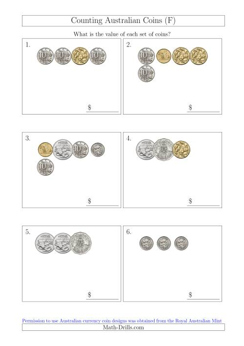 The Counting Small Collections of Australian Coins (F) Math Worksheet