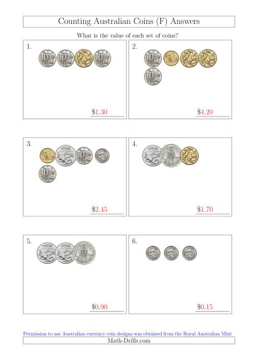 The Counting Small Collections of Australian Coins (F) Math Worksheet Page 2