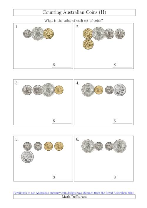 The Counting Small Collections of Australian Coins (H) Math Worksheet
