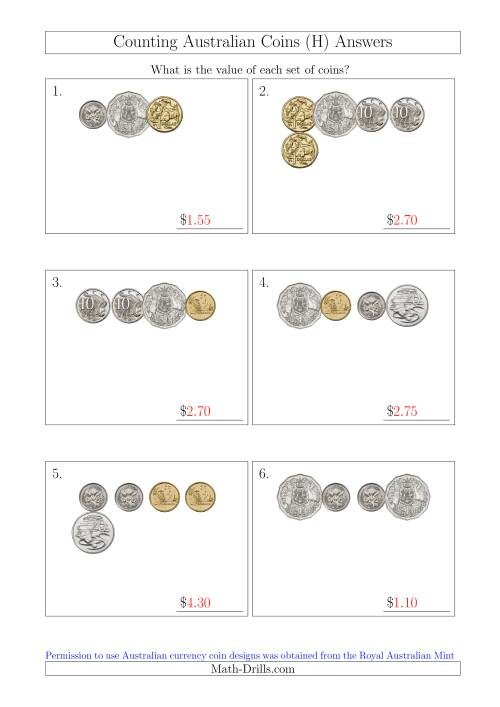 The Counting Small Collections of Australian Coins (H) Math Worksheet Page 2