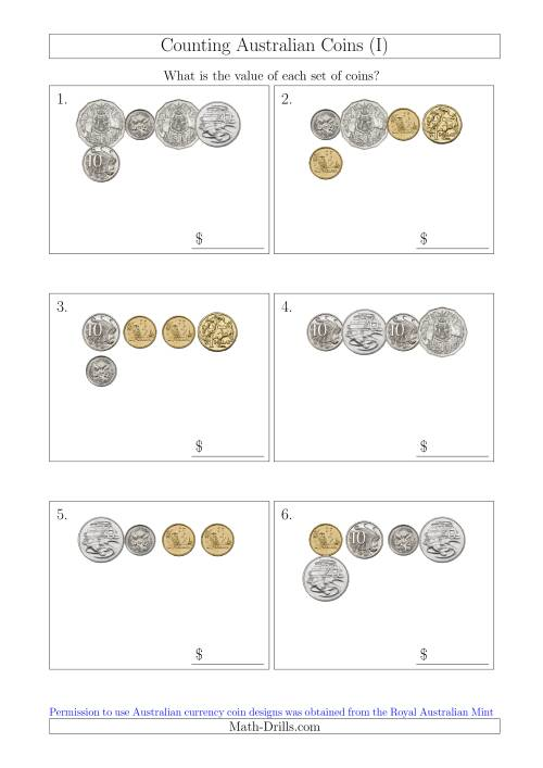 The Counting Small Collections of Australian Coins (I) Math Worksheet