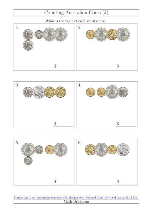 The Counting Small Collections of Australian Coins (J) Math Worksheet