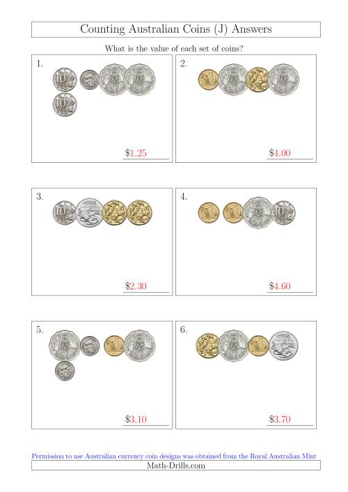 The Counting Small Collections of Australian Coins (J) Math Worksheet Page 2