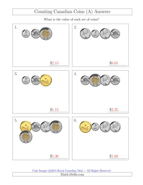 The Counting Small Collections of Canadian Coins (A) Math Worksheet Page 2