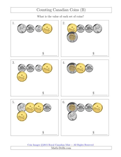 The Counting Small Collections of Canadian Coins (B) Math Worksheet