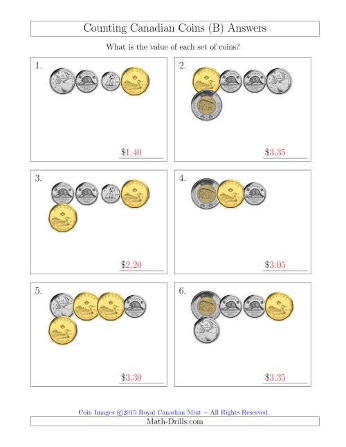 The Counting Small Collections of Canadian Coins (B) Math Worksheet Page 2