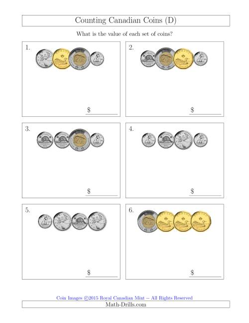 The Counting Small Collections of Canadian Coins (D) Math Worksheet