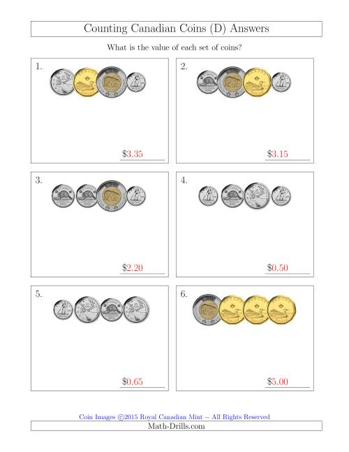 The Counting Small Collections of Canadian Coins (D) Math Worksheet Page 2