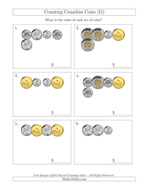 The Counting Small Collections of Canadian Coins (G) Math Worksheet