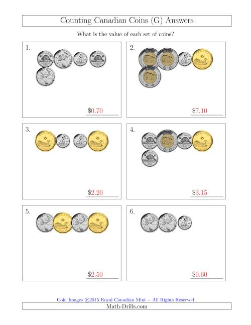 The Counting Small Collections of Canadian Coins (G) Math Worksheet Page 2