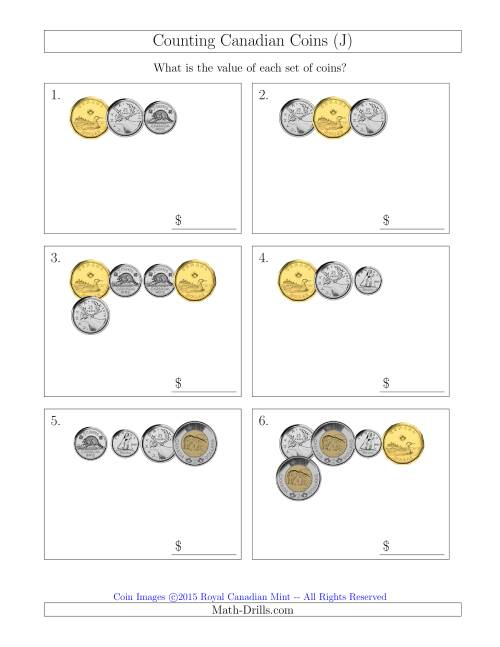 The Counting Small Collections of Canadian Coins (J) Math Worksheet