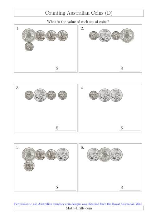 The Counting Small Collections of Australian Coins Without Dollar Coins (D) Math Worksheet
