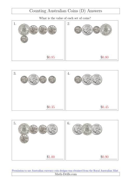 The Counting Small Collections of Australian Coins Without Dollar Coins (D) Math Worksheet Page 2