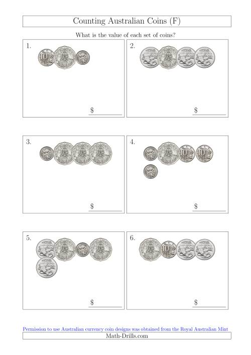 The Counting Small Collections of Australian Coins Without Dollar Coins (F) Math Worksheet