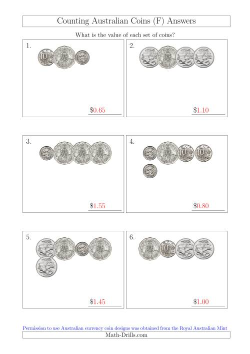 The Counting Small Collections of Australian Coins Without Dollar Coins (F) Math Worksheet Page 2