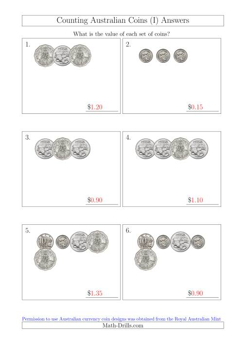 The Counting Small Collections of Australian Coins Without Dollar Coins (I) Math Worksheet Page 2