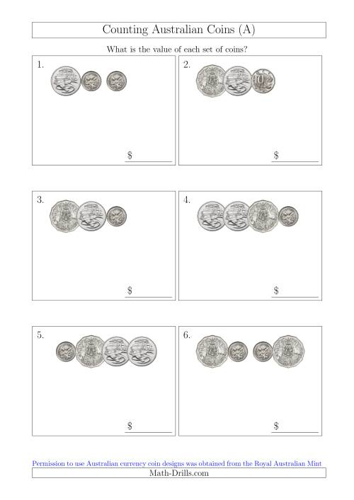 The Counting Small Collections of Australian Coins Without Dollar Coins (All) Math Worksheet